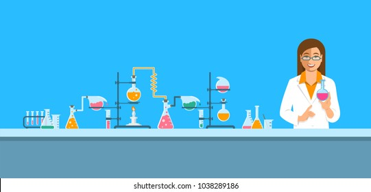 Chemist in chemical laboratory. Flat vector background. Cartoon horizontal banner. Woman scientist in white coat holds flask with new medicine near pharmaceutical equipment. Medical research concept