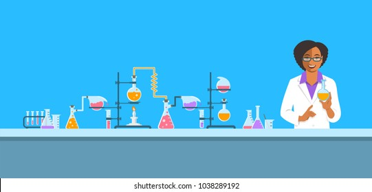 Chemist in chemical laboratory. Flat vector background. Cartoon horizontal banner. Black woman scientist in white coat holds flask with new medicine near pharmaceutical equipment. Medical research