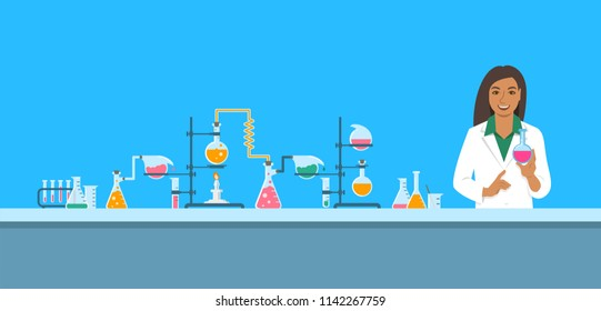 Chemist in chemical laboratory. Flat vector background. Cartoon horizontal banner. Indian woman scientist in white coat holds flask with new medicine near pharmaceutical equipment. Medical research