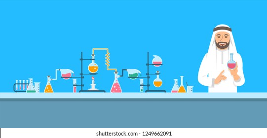 Chemist in chemical laboratory. Flat vector background. Cartoon horizontal banner. Arab man scientist in white coat holds flask with medicine near pharmaceutical equipment. Medical research concept