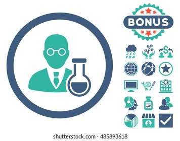 Chemist icon with bonus design elements. Vector illustration style is flat iconic bicolor symbols, cobalt and cyan colors, white background.