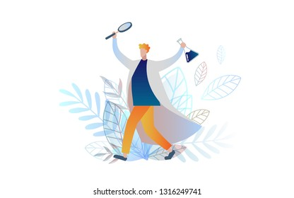 Chemist inventor. Flat illustration. gradient. Element for design