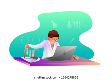 Chemist making research flat character. Biochemist, chemist experimenting vector illustration. Scientific, medical laboratory, lab testing. Chemistry teacher. Chemicals, toxic liquid in tubes