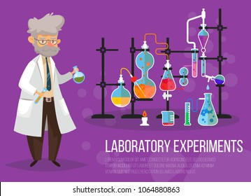 Chemist man near glassware flasks with liquid and tubes or pipes. Laboratory or lab with test-tube. Science and technology, medicine and pharmacy, chemistry and experiment theme
