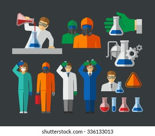 Chemist and Material Scientist holding test tube making research in laboratory vector