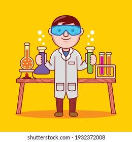 Chemist profession with flat design style. Vector illustration.