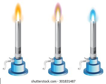 Chemistry Apparatus - Bunsen Burner with Different type of Flames - Illustration