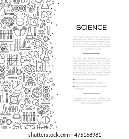 Chemistry Background with Line Icons. Vector illustration. Scientific Research.