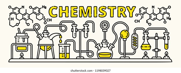 Chemistry beaker experiment banner. Outline illustration of chemistry beaker experiment vector banner for web design