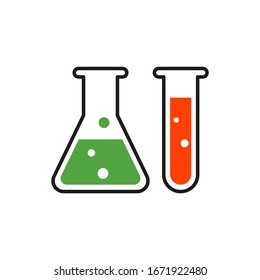 Chemistry beakers with Erlenmeyer flask and test tube holding colourful chemicals flat style vector icon for science apps and websites