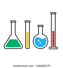 chemistry beakers and flacks vector icons set. Science or pharmacy symbols