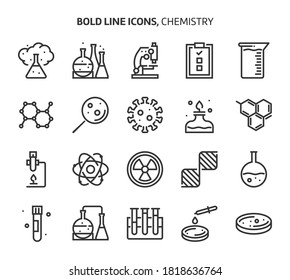 Chemistry, bold line icons. The illustrations are a vector, editable stroke, 48x48 pixel perfect files. Crafted with precision and eye for quality.