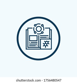 Chemistry book line icon. linear style sign for mobile concept and web design. Open book page with molecule outline vector icon. Education symbol, logo illustration. Vector graphics
