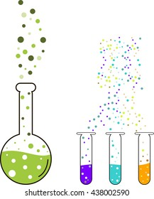 Chemistry , cooking potions in vector, flasks pack , alembic