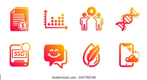 Chemistry dna, Hypoallergenic tested and Recovery ssd line icons set. Employees teamwork, Dot plot and Smile face signs. Financial documents, Smartphone cloud symbols. Vector