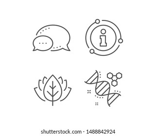 Chemistry dna line icon. Chat bubble, info sign elements. Laboratory analysis sign. Chemical formula symbol. Linear chemistry dna outline icon. Information bubble. Vector