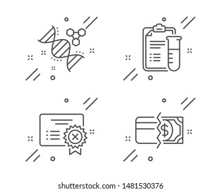 Chemistry dna, Medical analyzes and Reject certificate line icons set. Payment methods sign. Chemical formula, Medicine results, Decline file. Credit card. Business set. Vector