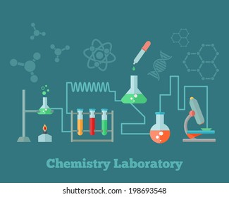 Chemistry education research laboratory equipment microscope emblem with background dna molecule structure formulas concept poster vector illustration