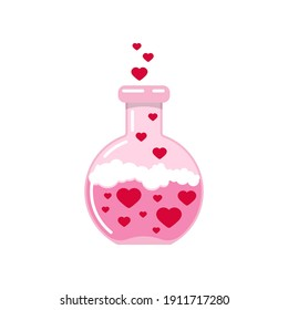 Chemistry flask with hearts and love poison valentines day icon isolated on white background. Pink coctail - boiling bubbling liquid reaction in beaker. Flat design cartoon style vector illustration.