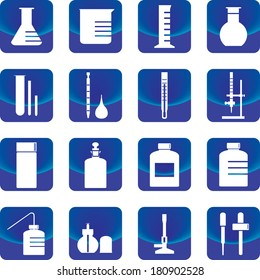 chemistry glassware and tools vector such as flask, buret, dropper, test tube