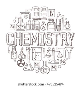 Chemistry hand drawn vector illustration with doodle icons, chemical images and objects arranged in a circle.