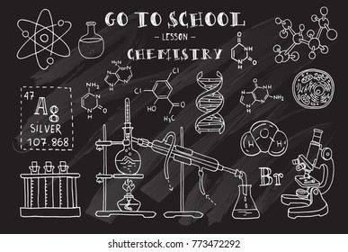 Chemistry. Hand sketches on the theme of Chemistry. Chalkboard. Vector illustration.