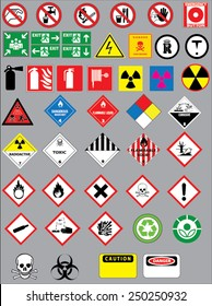 Chemistry hazard and warning symbols vector set. Safety warning signs