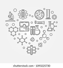 Chemistry heart creative symbol. Vector i love chemistry concept illustration in thin line style