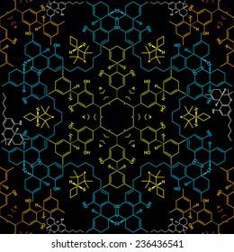 Chemistry hexagon THC-molecule-based seamless pattern vector illustration