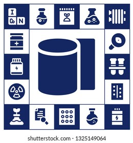 chemistry icon set. 17 filled chemistry icons.  Collection Of - Periodic table, Drug, Protein, Bandages, Radiation, Research, Test tubes, Pills, Flask, Science, Fertilizer, Drugs
