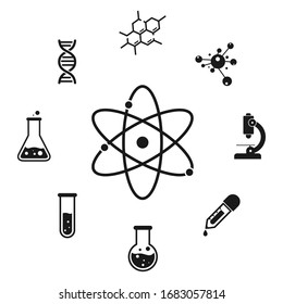 Chemistry icon set. Science laboratory icons on white background. vector  Illustration