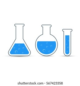 Chemistry icon set. Vector illustration of icon beaker.