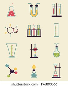 Chemistry icons. Research and Science simple icons