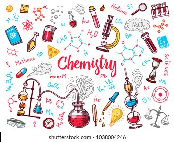 Chemistry of icons set. Chalkboard with elements, formulas, atom, test-tube and laboratory equipment. laboratory workspace and reactions research. science, education, medical. engraved hand drawn