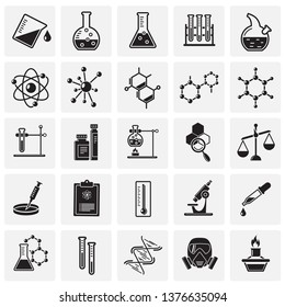 Chemistry icons set on squares background for graphic and web design. Simple vector sign. Internet concept symbol for website button or mobile app