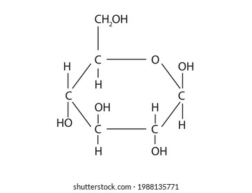 Chemistry illustration of Glucose molecule, monosaccharide containing six carbon atoms and an aldehyde group, and is therefore an aldohexose. The glucose molecule can exist in an open-chain (acyclic)