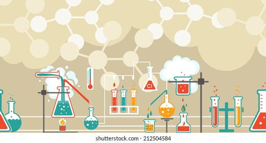 Chemistry infographic in a seamless horizontal pattern with a series of Erlenmeyer  conical flasks and beakers with various chemical solutions and reactions in a long line on atomic structure diagrams