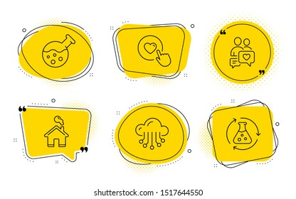 Chemistry lab, Cloud storage and Chemistry experiment signs. Chat bubbles. Dating chat, Like button and Home line icons set. People love, Press love, House building. Laboratory. Technology set. Vector