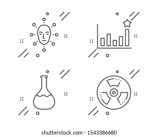 Chemistry lab, Efficacy and Face biometrics line icons set. Chemical hazard sign. Laboratory, Business chart, Facial recognition. Toxic, Science set. Line chemistry lab outline icon. Vector
