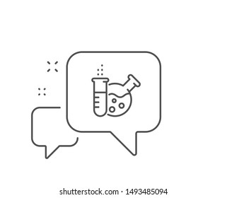 Chemistry lab line icon. Chat bubble design. Laboratory flask sign. Analysis symbol. Outline concept. Thin line chemistry lab icon. Vector
