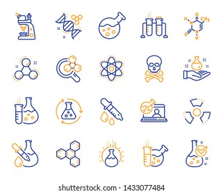 Chemistry lab line icons. Chemical formula, Microscope and Medical analysis. Laboratory test flask, reaction tube, chemistry lab icons. Microscopic research, toxic radiation. Vector