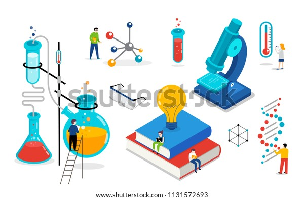 Chemistry lab and school class, science, education scene with miniature people, students. Isometric, vector concept design