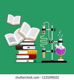 Chemistry lab and science equipment. Chemical experiment.  Books and glass flasks with solution in research laboratory. Illustration in flat style.