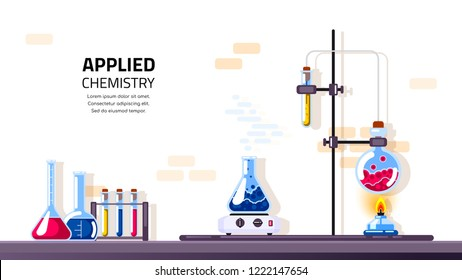 Chemistry lab and science equipment. Pharmacy and chemistry concept. Education and science concept banner. Flat style illustration.