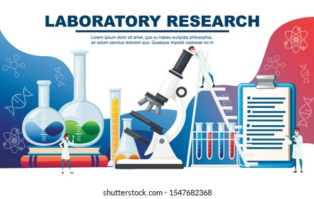 Chemistry laboratory abstract design with big equipment and little scientists advertising flyer design flat vector illustration