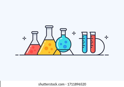 Chemistry and laboratory icons illustration in flat line style. Design concept of vector illustration isolated on light background for website and mobile apps.