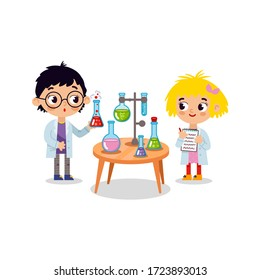 Chemistry laboratory. Little boy and girl scientist in classroom at chemistry lesson. School chemical laboratory with glass flask and test tubes. Schoolboy making science experiment in chemistry class