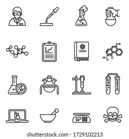 Chemistry and laboratory related icons set with white background. Thin line style stock vector.