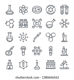 Chemistry and laboratory related line icon set. Science and scientific equipment linear icons. Lab and experiment outline vector sign collection.