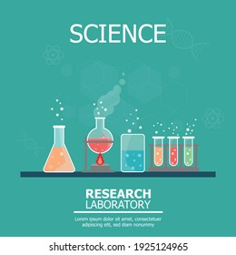 Chemistry laboratory and Science Equipment with space for text insertation. Education and Science  Concept Banner.  Pharmacy and Chemistry Theme.